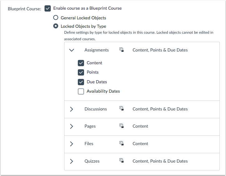 Course Settings Objects by Type Expanded