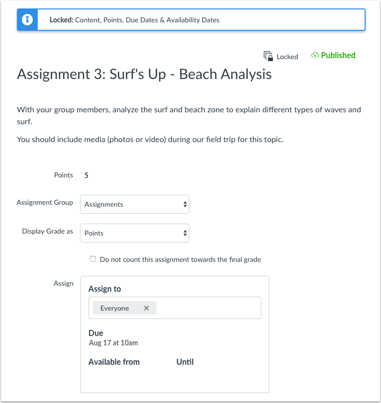View Edit Page for Locked Assignment Instructor View