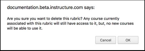 Confirm Delete Rubric