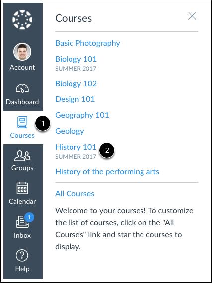 Abrir página de inicio del curso
