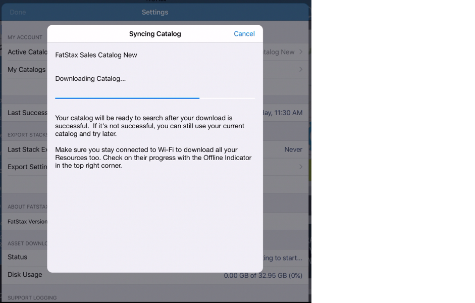 The catalog download will start immediately and show a progress bar until it is finished.