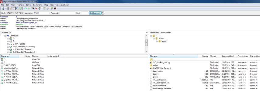 Browsing the roboRIO filesystem