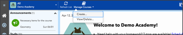 Create a new course