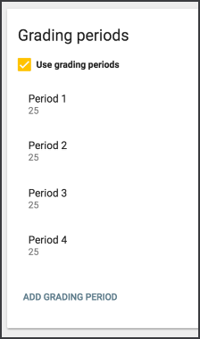 Sample window of the grading periods screen with the use grading periods checkbox selected.
