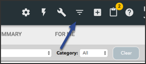 Image of the upper right toolbar pointing to the filter icon that looks like a funnel