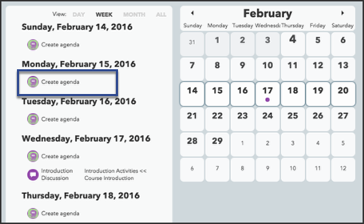 Creating agendas with the Calendar tool