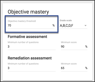 Image of the obhective mastery card with an objective mastery threshold of 70 percent entered.