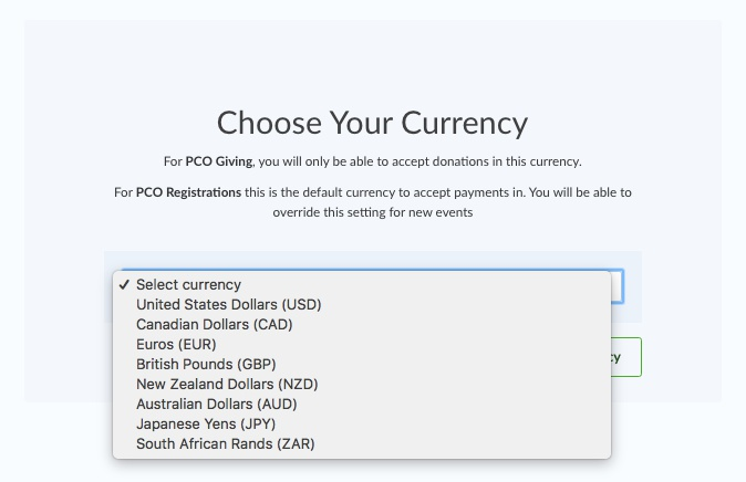 choose currency