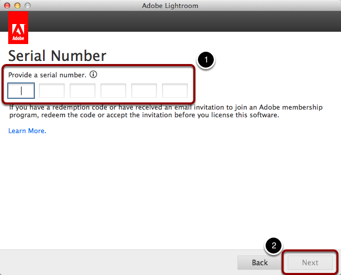 Paste the License Key into the Adobe Serial Number window