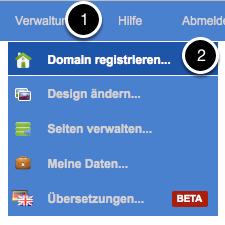 Erste Domain registrieren.