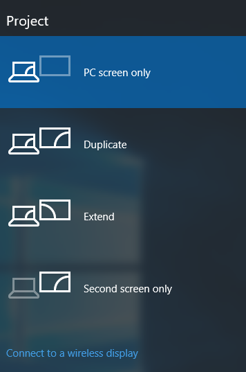 Choose your second screen option