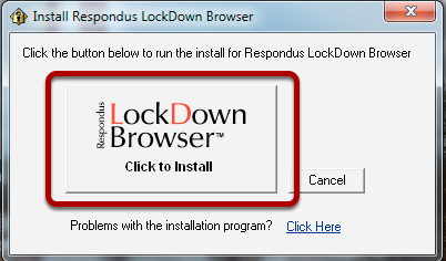 "Click ""LockDown Browser"" to Begin the Installation"