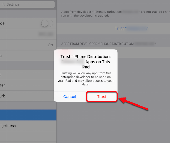 "Tap ""Trust"" on the pop-up window"