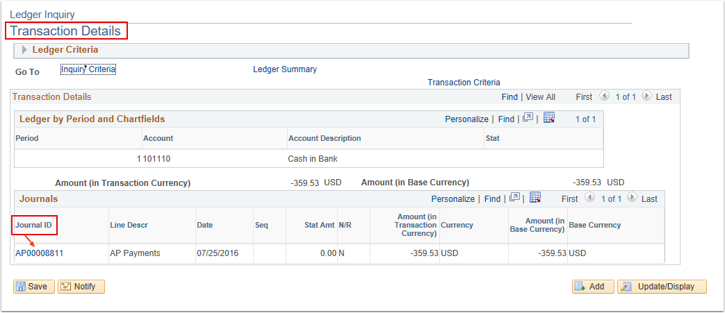 Transaction Details Page