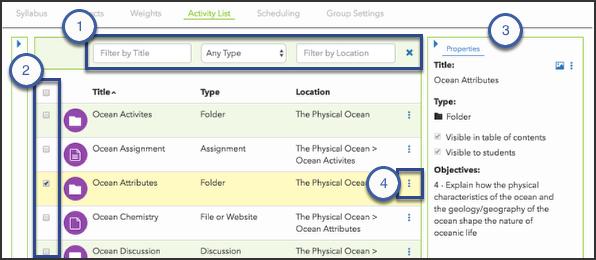 Activity List tab