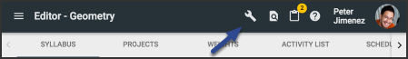 image of tool icon in header
