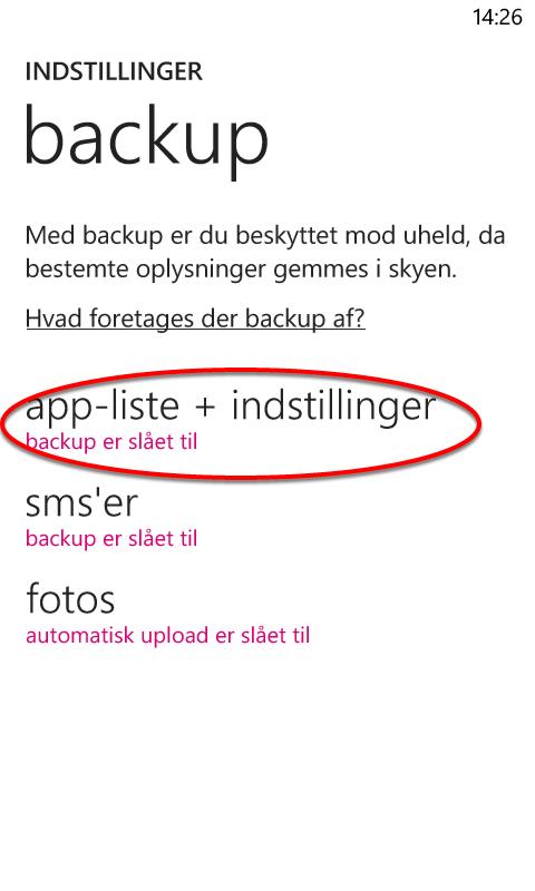 Hvis din skærm ser således ud, er din backup slået til.