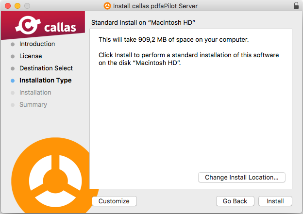 Select installation type