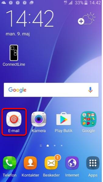"""1. Åbn telefonen og klik på """"E-mail"""""""