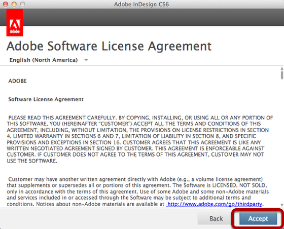 Accept the License Agreement