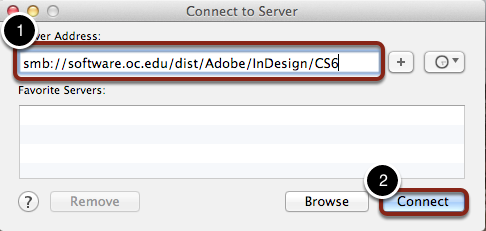 Connect to smb://software.oc.edu/dist/Adobe/InDesign/CS6
