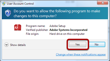 "Select ""Yes"" - to allow changes to be made for this program"