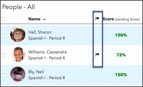 a people screen displays flags next to the names of students with accommodations