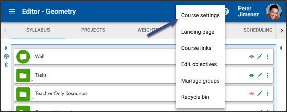 Image of the tools dropdown menu with the course settings option highlighted.