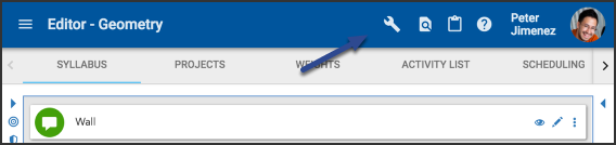 Image of the syllabus tab with the tools icon highlighted.