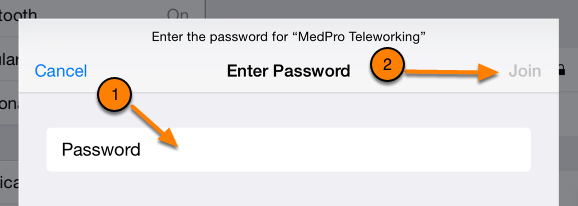 If the network that you want to join is password-locked, which means it has a lock next to the signal icon, you need to type in the password when prompted and tap Join.