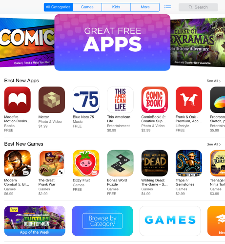 Once the App Store is open, you will be on the homepage.