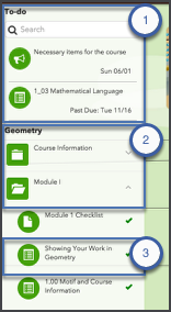 Screenshot of the Activities tool with the To-do List and sidebar navigation higlighted.