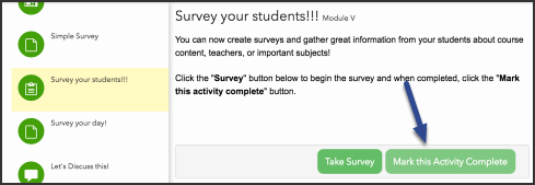 Image of how to mark a submission complete, with an arrow pointing to the Mark this Activity Complete button.