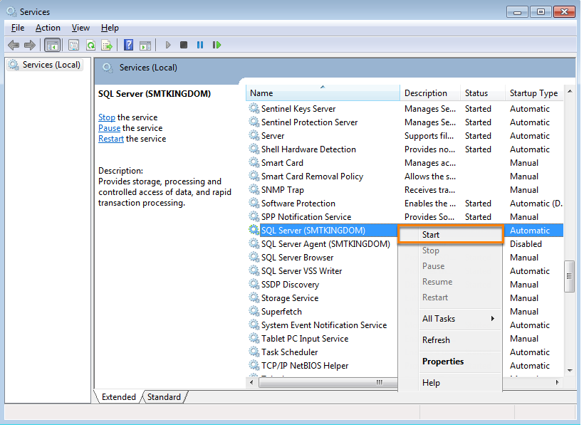 Check that Windows services SQL Server (SMTKINGDOM) and SQL Server Browser are running