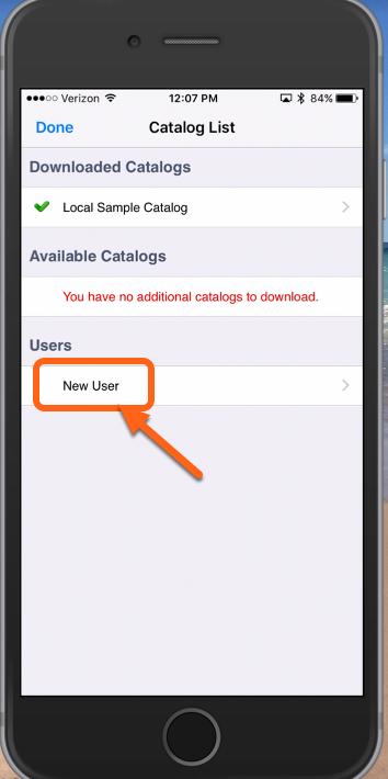 "Tap ""New User"""
