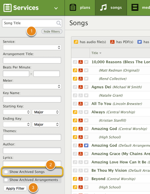 Filter for Archived Songs