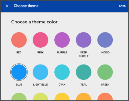 "Screenshot of the ""Choose a Theme Color"" menu."