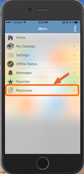 "Tap ""Resources"""