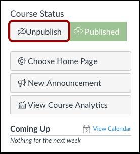 Unpublish Course