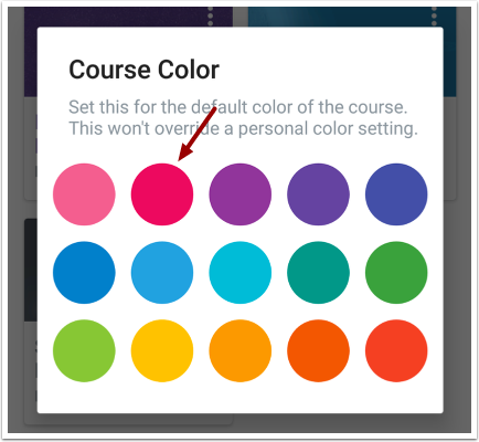 Edit Course Color