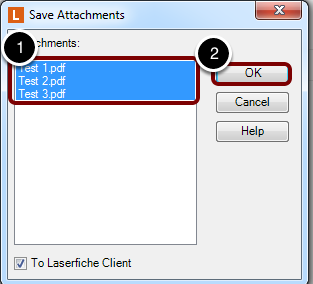 """Highlight Attachments to Import and Click """"OK"""""""