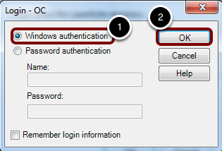 "Choose ""Windows authentication"" and click ""OK"""