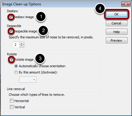 Configure Image Clean-up Options
