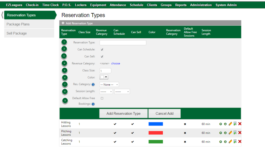 Setting Up Reservation Types