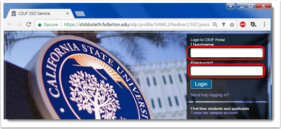 Enter your regular CSUF login credentials.
