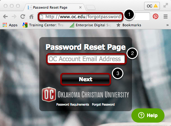 Visit oc.edu/forgotpassword