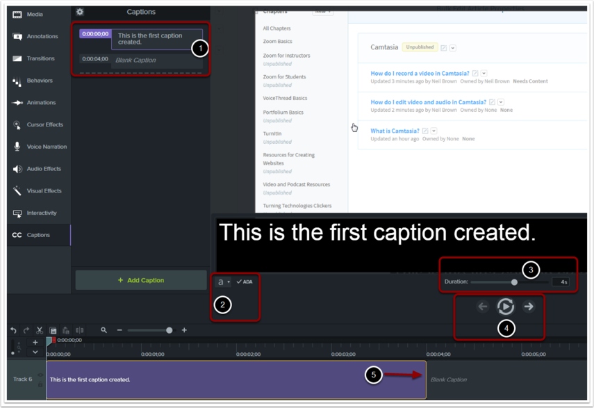 Five steps to creating captions on a video