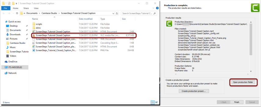 Production results window, select Open production folder