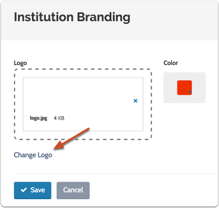 """Click the """"Change Logo"""" link if you need to upload a different logo"""