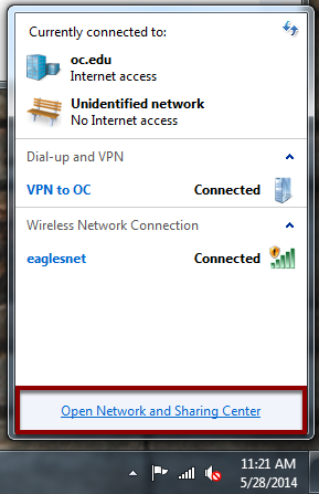 Open Network and Sharing Center